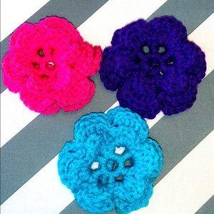3 Triple Layer Crocheted Dog Collar Flowers